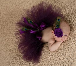 Wholesale Crocheted Baby Headbands - Newborn photography props baby girls purple peacok feather skirt photo props tutu sets+flower headband baby photo shoot