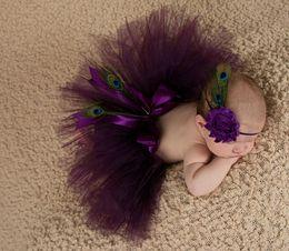 Wholesale Baby Girl Headband Crochet - Newborn photography props baby girls purple peacok feather skirt photo props tutu sets+flower headband baby photo shoot