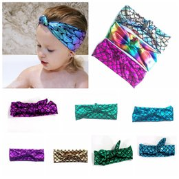 Wholesale Fish Hair Bow - Knotted Mermaid Headband Fish Scale kids Girl headwrap Bow Hairbands Hair Accessories baby Headband Headband KKA3008