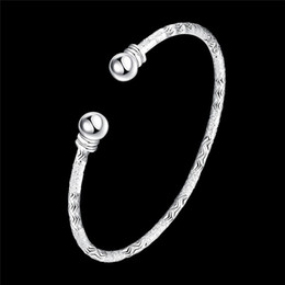 Wholesale Elegant Bracelet 925 - Wholesale- Elegant Fashion Women Ladies Girls 925 Round Silver Plated Cuff Bracelet Best Gift Trendy Jewelry