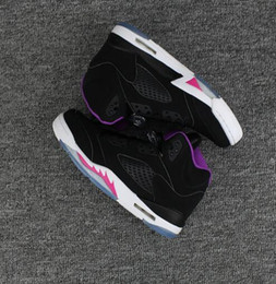 Wholesale Color Thread For Leather - Classic retro 5 basketball shoes white cement black metallic red blue Cheap New sneakers Grape color bel air Oreo for men women