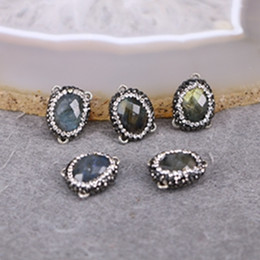 Wholesale Labradorite Oval - 10pcs Nature Labradorite Druzy Connector Beads with 3 Bails, Oval Shape With Crystal Zircon Paved Charms Jewelry Findings