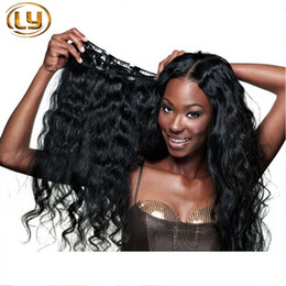 Wholesale Women Hair Extensions - Brazilian Clip in Human Hair Extensions Body Wave Clip Ins for Black Women 7pieces set Brazilian Hair Clip In Extension