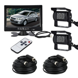 "Wholesale Bus Camera Dvr - 7"" LCD Monitor Screen & 2 x IR Car dvr Rear View Reverse Camera Kit for truck Trailer Bus RV Vehicle"
