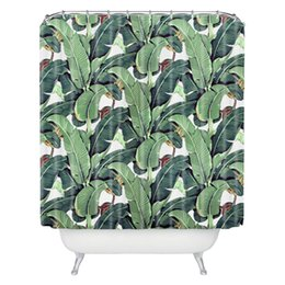 Wholesale Tropical plants CM CM Polyester Fabric Bath Curtain Custom Waterproof Mildew Shower Curtain Bathroom curtain