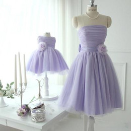 Wholesale Xl Girls Birthday - 6 Colors Wedding Birthday Bow Dress Mother Daughter Tulle Dresses 2017 Mom and Me Purple Matching Dress Women Dresses Girls Tutu Dress S311