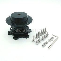 Wholesale Quick Release Snap - 100% Aluminum Black Truck Car Steering Wheel Kit Universal Quick Release HUB Adapter Snap Off Boss Kit
