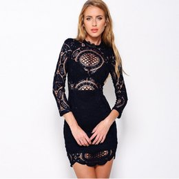 Wholesale Women S Day Dresses - Lace Embroidery Dress Sexy Valentine Day Gifts Women Sexy Black Yellow White Hollow Out Bodycon Bandage Dress Ukraine Vestido De Festa W3743