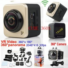 Wholesale Downhill Helmets - New camera CUBE 360S Ultra HD Wifi Action Camera 1080P 360degree Panoramic VR Video Sport Camera Deportiva Camcorders 1.5 LCD Helmet Cam