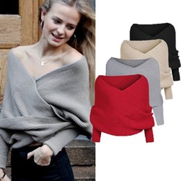 Wholesale Cable Jumpers - Wholesale-Autumn Winter Women V Neck Wrap Top Chunky Cable Knitted Jumper Crop Sexy Pullover Sweater Long Sleeve Loose Plain Shawl Scarf