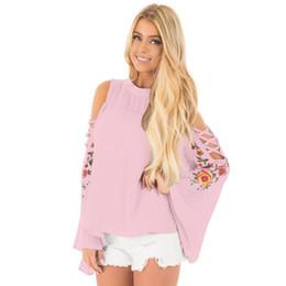 Wholesale Vintage Pink Blouse Collar - flare sleeve hollow out Shoulder Floral print Tops Female Lace Crochet Vintage Blouse Shirt Women 2017 Oversize shirts