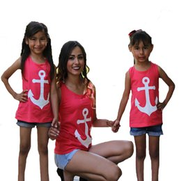 Wholesale Matching Mom Son Outfits - Matching Mother Daughter Clothes 2017 Fashion Navy Anchor Mom And Daughter T Shirt Summer Style Bow Suspender Mother Son T-shirt Outfits