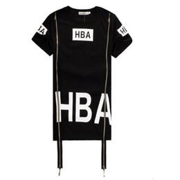 Wholesale T Shirts Long Sides - New Hip Hop Shirt Men Women Tshirts Streetwear Camisetas HBA Hood By Air Side Zipper T-Shirt HBA Clothes Been Trill Kanye Tyga Shirt