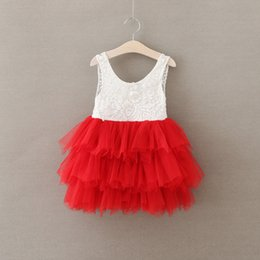 Wholesale Childrens Party Dresses - Girls Crochet Lace Dresses Babies Princess tutu Party dress Kids Girls childrens Summer clothing Sleeveless Pearl Dress
