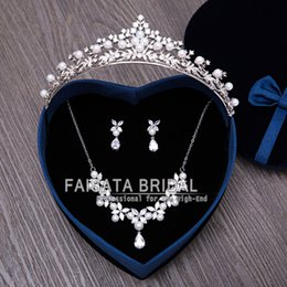 Wholesale Anchor Necklace Rhinestone - Mecresh Luxury Simulated Pearl Wedding Jewelry Sets Bridal Necklace Earrings Tiara Sets Hot Selling Women Party Gift 2017 New Arrive