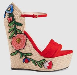 Wholesale Flower Wedges Sandals - 2017 Summer new knitted wedge heel sandals embroidered rose flowers charming height increasing platform sandal woman heels
