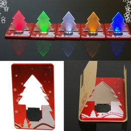 Wholesale Gift Card Printing - New Year Mini LED Christmas Tree Folding Card Night Lights Lamp Pocket Bulb Card customize logo print Creative Gift