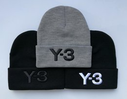 Wholesale Hip Hop Style Beanie Hats - 2017 New Styles Letter Y-3 Casual Beanies for Men Women Fashion Knitted Winter Hat Solid Color Hip-hop Skullies Bonnet Unisex Cap Gorro