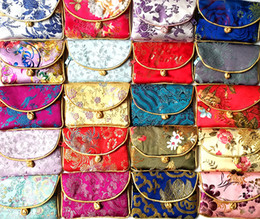 Wholesale Chinese Silk Knot Pouch - Chinese knot Silk Brocade Small Coin Purse Bag Zipper Jewelry Gift Pouches Bag Credit Card Holder Craft Packaging Pouch 50pcs lot