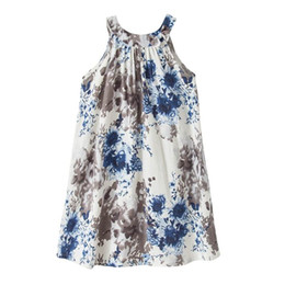 Wholesale Painting Boats - Retail Australia Style Summer New Girls Linen Dresses Sleeveless Ink painting Floral Holiday Beach Dress Children Clothes H0115