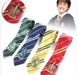Wholesale Stripe Neck - Harry Potter Ties Gryffindor Slytherin Badge Ties Ravenclaw Hufflepuff Necktie Hogwarts Stripes Neckwear Costume Tie 4 design KKA2072