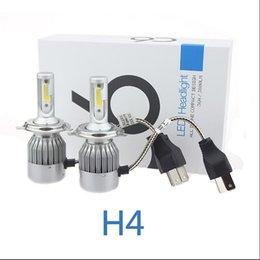 Wholesale Super Bright Color Led - 1Set 72W 7600LM COB Chip C6 Super Bright Car Lights White Color 6000K H4 Car LED Headlight Bulb