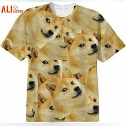 Wholesale Army Dog Shirt - Alisister Harajuku Women Men Funny Head Doge 3D Short Sleeve T-shirt Deus God Dog shiba Inu Print 3D Tees Tops Plus Size 17310