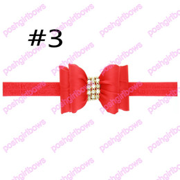 Wholesale Hair Stain - free shipping 20pcs 3'' baby headbadns with rhonestone hair bows stain hair bows girl headbadns