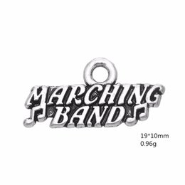 "Wholesale march necklace - New Fashion Alloy Silver Lettering ""Marching Band"" Charms DIY Accessories For Bracelet & Necklace Jewelry 50PCS lot"