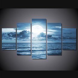 Wholesale Sea Poster Landscape - 5 Pcs Set Framed HD Printed full moon moonlight sea ocean Painting Canvas Print room decor print poster picture canvas Free shipping ny-1730