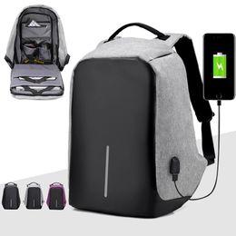 Wholesale Black Outdoor Backpack - Direct sell fashion shoulder computer bag Korean USB socket charge multi-function outdoor travel student package designer backpacks