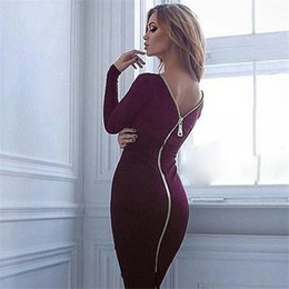 Wholesale Club Body Dresses - Womens Sexy Party Dresses Zipper Ladies Party Dresses Elegant Sheath Body Dresses for Autumn and Summer