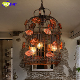 Wholesale Chinese Touch Lamps - Vintage Pendant Lamp Chinese Antique Style Creative Garden Pendant Lamp Leaf Decor Suspension Lamp Cage Lights