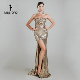 Wholesale Maxi Bra Dress - Wholesale- Missord 2017 Sexy sleeveless halter bra split party dress sequin maxi dress FT4785-1