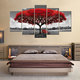 Wholesale Wall Art Wooden - 5 Panels Red Tree Canvas Painting Flowers Wall Art Landscape Artwork Print on Canvas Ready to Hany for Home Wall Decor Wooden Framed