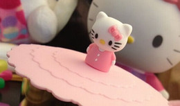 Wholesale Kawaii Bamboo - Wholesale- Kawaii Standing Pink Hello Kitty 10CM Healthy Silicone Cup Lid ; Water Drinking Cup Mug's Lid Cover TOP MAT Pad