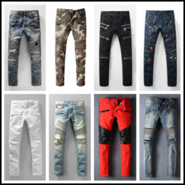 Wholesale Man Jeans Trousers - Distressed France Fashion Pierre Straight Jeans Men's Biker Jeans Hole Stretch Denim Casual Jean Men Skinny Pants Elasticity Ripped Trousers