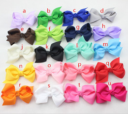 Wholesale Cheap Hair Bows Free Shipping - Wholesale- 2.75 inch Cheap Ribbon Boutique Hair Bows For Children Hair Accessories Baby Hairbows with Clip 40 pcs lot Free Shipping
