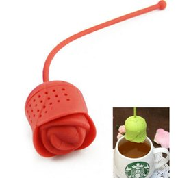 Wholesale Tea Infuser Cup Wholesale - 1XHot Silicone Rose Design Tea Leaf Filter Strainer Herb Spice Infuser Teapot Cup 4 Colors Free Shipping