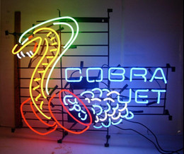 Wholesale Real Cobra - New Tat tire Neon Beer Sign Bar Sign Real Glass Neon Light Beer Sign New Cobra Jet Snake Car Auto Man Cave Neon 24x 20