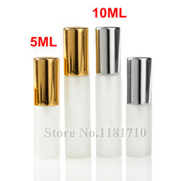 Wholesale Mini Refillable Perfume Atomizer Bottle - 5ML 10ML Frosted Glass Spray Bottle Portable Empty Perfume Atomizer Refillable Mini Sample Glass Vials with Gold Silver Cap