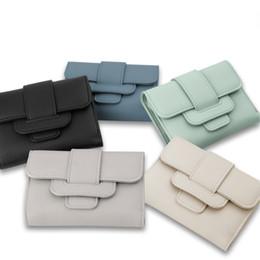 Wholesale Tri Fold Purse - 2017 New Luxury Soft Leather Women Hasp Wallet Fashion Tri-Folds Clutch For Girls Coin Purse Card Holders Female Blue Money Bag