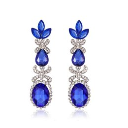 Wholesale Long Evening Earrings - Europe and the United States high - end luxury evening dress exaggerated earrings long bride wedding tassel jewelry