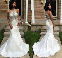 Wholesale taffeta ruffled halter evening dresses - 2017 Sexy White Mermaid Prom Dresses Halter Beaded Bodice Taffeta Open Back Black Girls 2K17 Prom Dresses Formal Evening Gowns