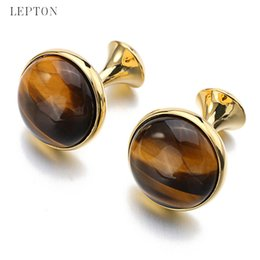 Wholesale Mens Cufflinks Gold - Low-key Luxury Tiger-eye Stone Cufflinks for Mens Gold Color Plated Lepton High Quality Brand Round Stone Cuff links Best Gift