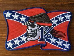 2019 bandiere americane VENDITA CALDA! Rebel 1% American Flag MC Biker Patch Ricamo Iron On Sew On Patch Badge 10 pz / lotto Applique DIY Spedizione gratuita bandiere americane economici