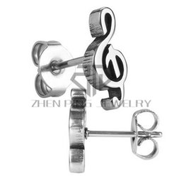 Wholesale Wholesale Surgical Steel Earrings - Free Shipping Musical Notation Stud Earrings 316L Surgical Stainless Steel Women Fashion Stud Earrings Can Be Mix