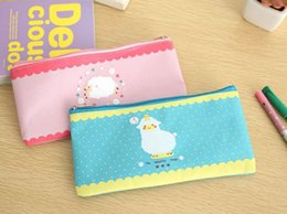 Wholesale Sheep Pencil Case - Wholesale- Student Stationery Wind Elegant Beauty Simplicity Sheep Pencil Pen Case Cosmetic Makeup Bag Zipper Pouch Purse Sheep