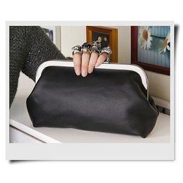 Wholesale Rings Baguettes - Wholesale-New Arrival Women's Handbag Black Skull Gem Ring Knuckle bag Purse Crossbody Bag with Chain