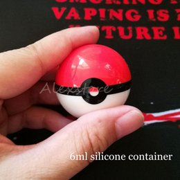 Wholesale Pokemon Boxes - Non-Stick Pokeball Container Wax Jars Poke Ball Shape Food Grade Silicone Gel Storage Box For Herbal Vaporizer Glass Bong Accessories